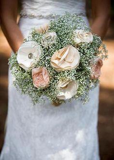 Lovely fabric flower bouquet. Photo by Art by Kriea. #wedding #bouquet #fabricflowers #babysbreath #pink #blush #peach