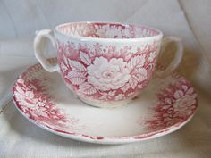 Victorian 1800s Pink And White Transferware Two by AuntSuesVintage, $34.99