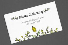 Business Card, Personalized Business Cards, Calling Card, Contact Card, Yellow Pink Flowers by OlivineStationery on Etsy
