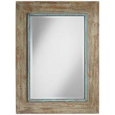 """Uttermost Gardere Blue Trim 30"""" x 40"""" Wood Wall Mirror 199.99 Wood wall mirror. Blue trim. Rustic finish. From Uttermost. Beveled."""