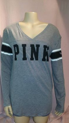 Victoria's Secret PINK Gray Long Sleeve Baseball Tee Top V Neck M #VictoriasSecret #Sleepshirt