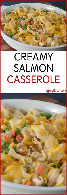 Creamy Salmon Casserole - Add a seafood option to your casserole arsenal. Salmon, vegetables and noodles come together under melty cheddar cheese, because what isn't better with cheese? Evaporated milk makes this casserole extra creamy.| CDKitchen.com