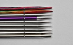 "DyakCraft Darn Pretty (regular) 3.5"" 3.5mm (interchangeable) DyakCraft Darn Pretty (regular) 5"" 3.5mm (interchangeable) DyakCraft Heavy Metal 3.5"" 3.25mm (interchangeable) Signature Stiletto 3.5mm (fixed) Hiya Hiya Sharp 3.5mm (interchangeable) ChiaoGoo RED Lace 3.5mm (fixed) Hiya Hiya (regular) 3.5mm (interchangeable) Lana Grossa/Knit Pro 3mm (fixed) Addi Turbo/Premium 3.5mm (fixed)"