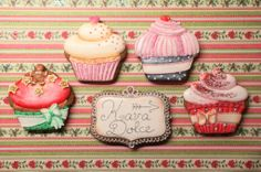 VINTAGE RETRO CUPCAKE COOKIES PAINTED KAVA DOLCE