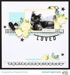 Today we are sharing some more Design Team Inspiration and a Guest layout using our September 2017 Sketch! If you recall, w. Scrapbook Sketches, Scrapbook Page Layouts, Scrapbook Albums, Scrapbook Cards, Friend Scrapbook, Picture Layouts, Cat Sketch, Birthday Scrapbook, Candy Cards