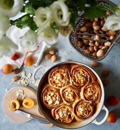 Irresistible when warm from the oven, equally good once cooled down. Soft dough wrapped around juicy fresh apricots and mellow almonds. With crispy exteriors topped with crunchy almonds. Sticky Buns, Waffles, Almond, Oven, Toast, Milk, Fresh, Make It Yourself, Baking