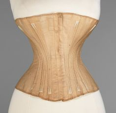 Corset  Worcester Skirt Company   Department Store: Day & Horton (American) Date: 1866–67 Culture: American Medium: cotton, metal, bone Dimensions: Busk: 11 3/4 in. (29.8 cm)