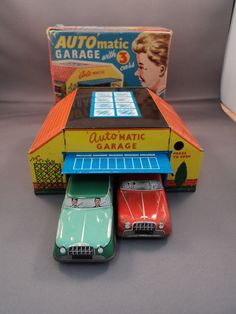 Vintage Tinplate 'Auto' Matic Garage with 4 Cars | eBay