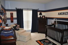 Chicago Bears Nursery - this is cute! I would tone it down a notch, but I like it