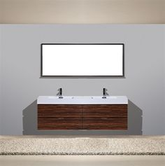 bliss 71 walnut wall mount double sink modern bathroom vanity los angeles vanity - Bathroom Cabinets Los Angeles