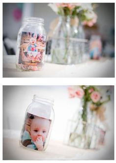 You could do all of his pics in mason jars and display them on the mantel...I have all the mason jars that im using for the wedding