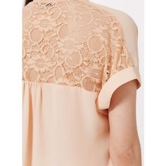 Miss Selfridge Nude Lace Back Drape Blouse ($30) ❤ liked on Polyvore featuring tops, blouses, nude, drape front blouse, lace back top, short sleeve tops, nude blouses and lace back blouse