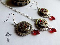 Meccanismo Vintage Sangue rosso collana Swarovski Steampunk e orecchini - Steampunk Jewelery set - gioielli personalizzati - Regalo di Natale : Collane di steamretro-italia
