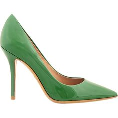 Salvatore Ferragamo Susie 100 Leather Pump (1,620 PEN) ❤ liked on Polyvore featuring shoes, pumps, heels, green, salvatore ferragamo shoes, high heel pumps, slip-on shoes, salvatore ferragamo pumps and green leather shoes