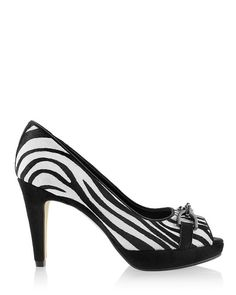 Chico's Veryl Zebra Pump #chicos Striped Shoes, Belt Purse, White Jumpsuit, Leather Cover, Beautiful Outfits, Kitten Heels, Peep Toe, Pumps, Black And White