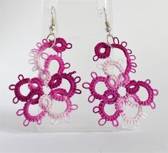 Tatted asymmetrical lace earrings , multicolor pink - Fashion jewelry by barbanta on Etsy