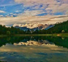 Buongiorno oggi in diretta dai #7000passidiBenessere - riflessi di luce sul lago qui nel bosco vicino al Pineta Hotels