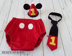 Mickey 1st Birthday Mickey Cake Smash Outfit Mickey Diaper