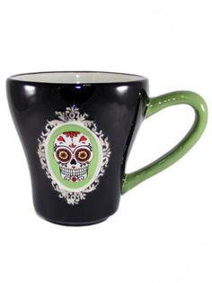 """""""Sugar Skull"""" Mug (Black/Green)"""