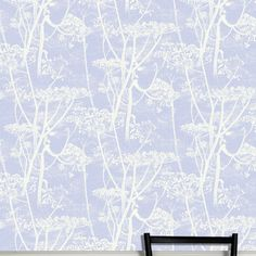 Cow Parsley print wallpaper by Cole and Son. Wallpaper design with white cow parsley print on light blue. Funky Wallpaper, Cole And Son Wallpaper, Luxury Wallpaper, Contemporary Wallpaper, Designer Wallpaper, Pattern Wallpaper, Black Cow, White Cow, Simple Wallpapers