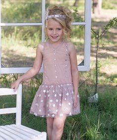 This Nude Pink Overlay Dot Dress - Infant, Toddler & Girls by Sweet Charlotte is perfect! #zulilyfinds