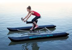 Schiller water bike human-powered watercraft, is the world's most advanced and efficient production bike for water. The Schiller water bike… Pedal Boat, Inflatable Kayak, Water Toys, Workout Machines, Exercise Machine, Bike Design, Sport Design, Kayak Fishing, Water Crafts
