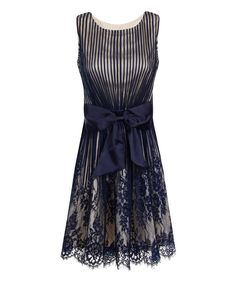 Another great find on #zulily! Navy Stripe Lace Bow-Front Dress by Little Mistress #zulilyfinds