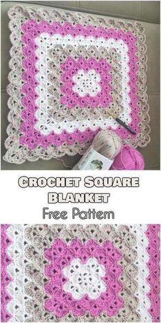 Crochet afghans 795237246680435624 - Crochet Square Blanket – Free Pattern Source by Crochet Square Blanket, Crochet Baby Blanket Free Pattern, Crochet For Beginners Blanket, Granny Square Crochet Pattern, Crochet Blankets, Crochet Granny, Crochet Pillow, Granny Granny, Crochet Squares Afghan