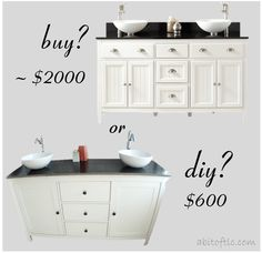 DIY OR BUY? IKEA HACK MASTER BATH VANITY TUTORIAL | A bit of TLC | we saved over $1400 by DIY-ing a master bath vanity: convert a dresser, sideboard or buffet, complete with stone top and vessel sinks for an easy and inexpensive bathroom vanity