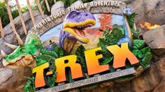 Sign for a dinosaur-themed restaurant that reads 'T-REX, A Prehistoric Family Adventure'