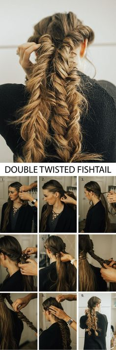 The prettiest double twisted fishtail braids! This hairstyle is so pretty and the hair tutorial is so easy to follow with the step by step and video instructions!