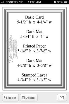 Sketch Matting measurements - My DIY TipsLAYOUT MATTING - Very helpful chart, highlight the layers in diff.stampin up card layer sizesMatting sizes for a 4 layer piececard making sketch from Robin's craft room . Card Making Templates, Card Making Tips, Card Making Tutorials, Card Making Techniques, Making Ideas, Layout Template, Making Greeting Cards, Greeting Cards Handmade, Paper Cards