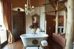 Resort bathroom at African lodge in Tanzania
