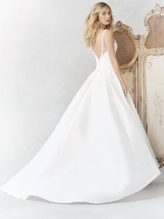 Ella Rosa Style BE364 | classic mikado gown with beaded accents and low v-back | romantic wedding dress | bridal gown