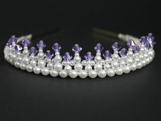 Pretty Little Purple Tiara, Flower Girl Tiara, Princess Tiara, Bridal Tiara, Birthday Tiara, Prom Tiara