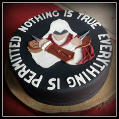 Assassins Creed cake for my boyfriend ; 14th Birthday, Boy Birthday, Birthday Cake, Birthday Parties, Boys Bday Cakes, Assassins Creed Logo, Novelty Cakes, Assassin's Creed, Celebration Cakes