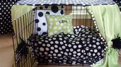 Dog crate cover ensemble. Creates a cozy haven for your pup and looks cute in the process! This is another easy DIY project to work on. A quick visit to the fabric store or thrift store, and you can easily sew a comfy cozy pat, matching pillows, and attach a cover and drapery. In summer you can replace the fabric with a lighter material. the only problem with these crates is when closed, there is no safe place for a water dish. $95.00