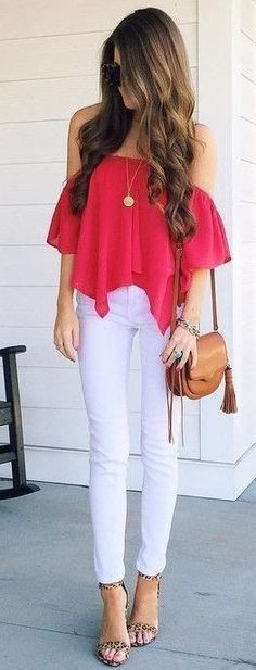 #summer #preppy #outfits |  Red Bardot Waterfall Top + White Jeans                                                                             Source