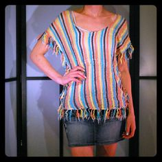 Striped Festival Top Striped with fringe, cross back, boat neck top. Good condition. Tops Blouses