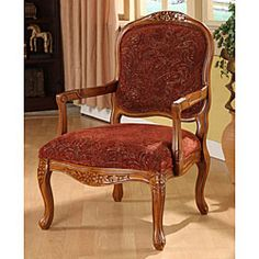 Curved Arm Paisley Wine Chair | Overstock.com Shopping - Great Deals on Living Room Chairs