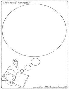 What is the knight dreaming about?  CreKid.com - Creative Drawing Printouts…