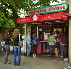 The very popular Espresso Vivace sidewalk bar on Broadway, which started as a cart and now is a bit more substantial. (Benjamin Benschneider/The Seattle Times)