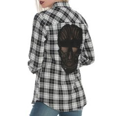 Skull Back Hollow Out Women's Blouse Long Sleeve Plaid – Everything Skull Clothing Merchandise and Accessories Plaid Shirt Outfits, Plaid Shirts, Blouses For Women, Women's Blouses, Long Sleeve Shirts, Shirt Sleeves, White Plaid, Black White, Long Blouse