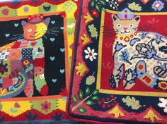 Kissin' cousins! Patchwork Cat and Renaissance Cat tapestries, made into cushions.