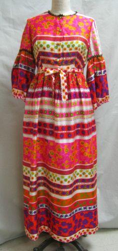 MOD Print Vintage 60s 70s MAXI DRESS w. Belt by Cuckoochenille