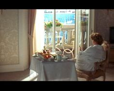"""...from """"French Kiss""""... A breakup with her fiancé takes Meg Ryan's character to France, where she ends up in the company of a jewel thief, played by Kevin Kline. Their journey across the French countryside leads them to a swank hotel on the Riviera, where the actress enjoys her petit déjeuner in a luxuriously appointed suite overlooking the Côte d'Azur."""