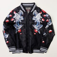 Sexy Chic Vintage Japanese Bird Crane Flowers See-through Stylish Chic Bomber Sukajan Embroidered Embroidery Souvenir Jacket - Japan Lover Me Store