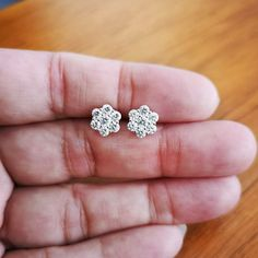 Ct Round Beautiful Cluster Flower Stud Earrings White Gold Over Platinum Earrings, Diamond Earrings, Stud Earrings, Flower Earrings, Flower Stud, Earring Backs, Or Rose, Colored Diamonds, Bridal Jewelry