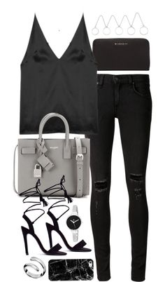 Untitled #1877 by sophiasstyle featuring water resistant watches Dion Lee cami top / Rag & bone/JEAN skinny jeans, 315 AUD / Black sandals, 49 AUD / Yves Saint Laurent leather purse, 2 420 AUD / Givenchy leather wallet, 1 010 AUD / Christian Van Sant...