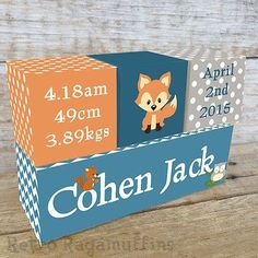 NURSERY DECOR Personalised Wooden Name Birth Blocks Woodland Fox